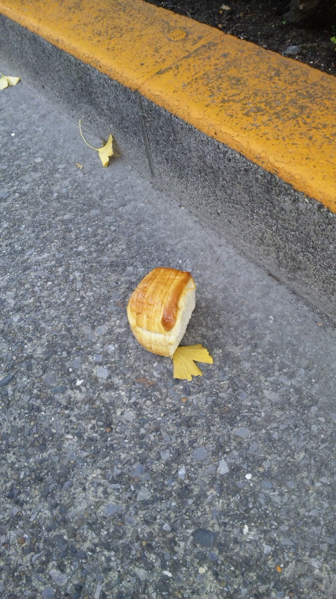 路上にパン。
